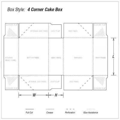 Custom Kraft Four Corner Cake Boxes